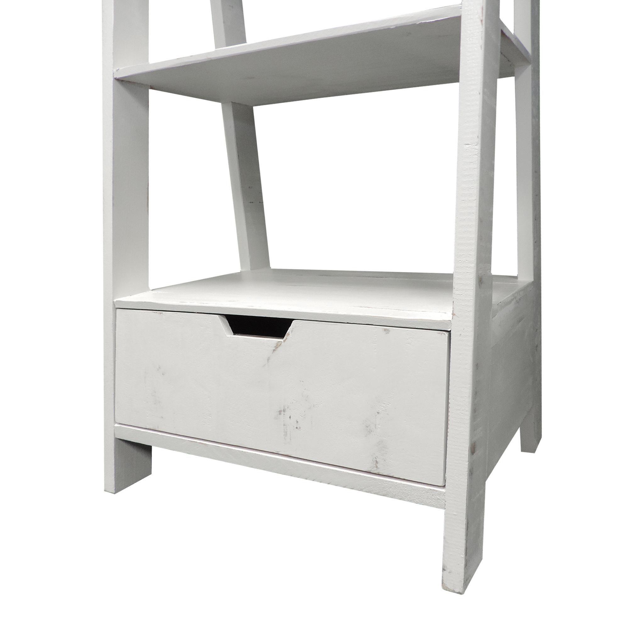 4 Shelf Wooden Ladder Bookcase with Bottom Drawer, Distressed white , Saltoro Sherpi
