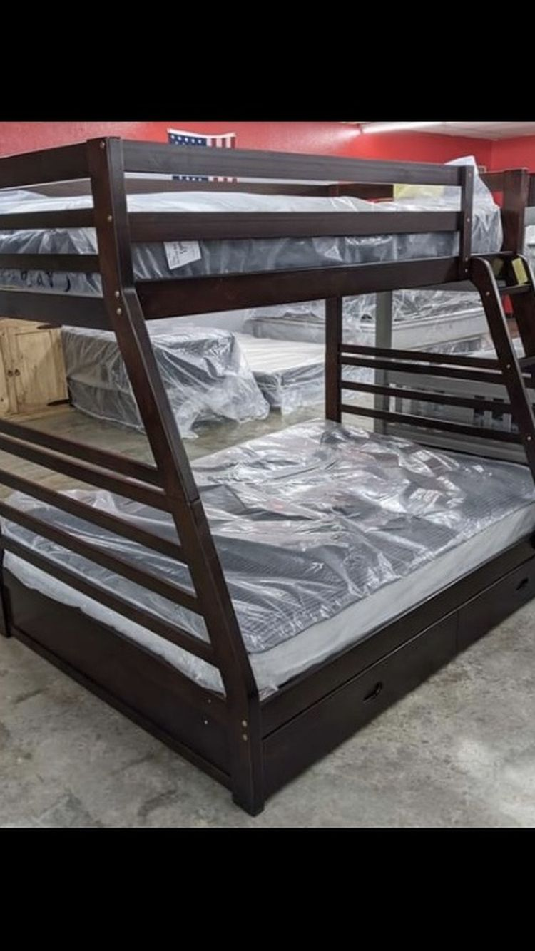 Twin Over Full Oak Wooden Bunk Bed Set ONLY $789!! $39 Down, Fast And Easy Approvals!