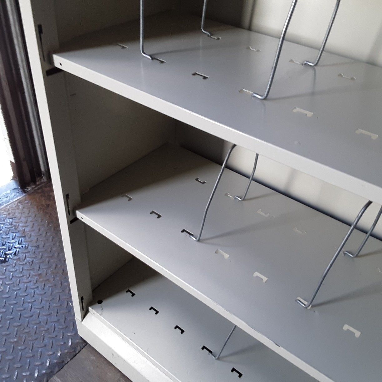 Shelving metal light weight...2 available...size. 34.5 Wide.m...12.5 Deep..81.25 Tall