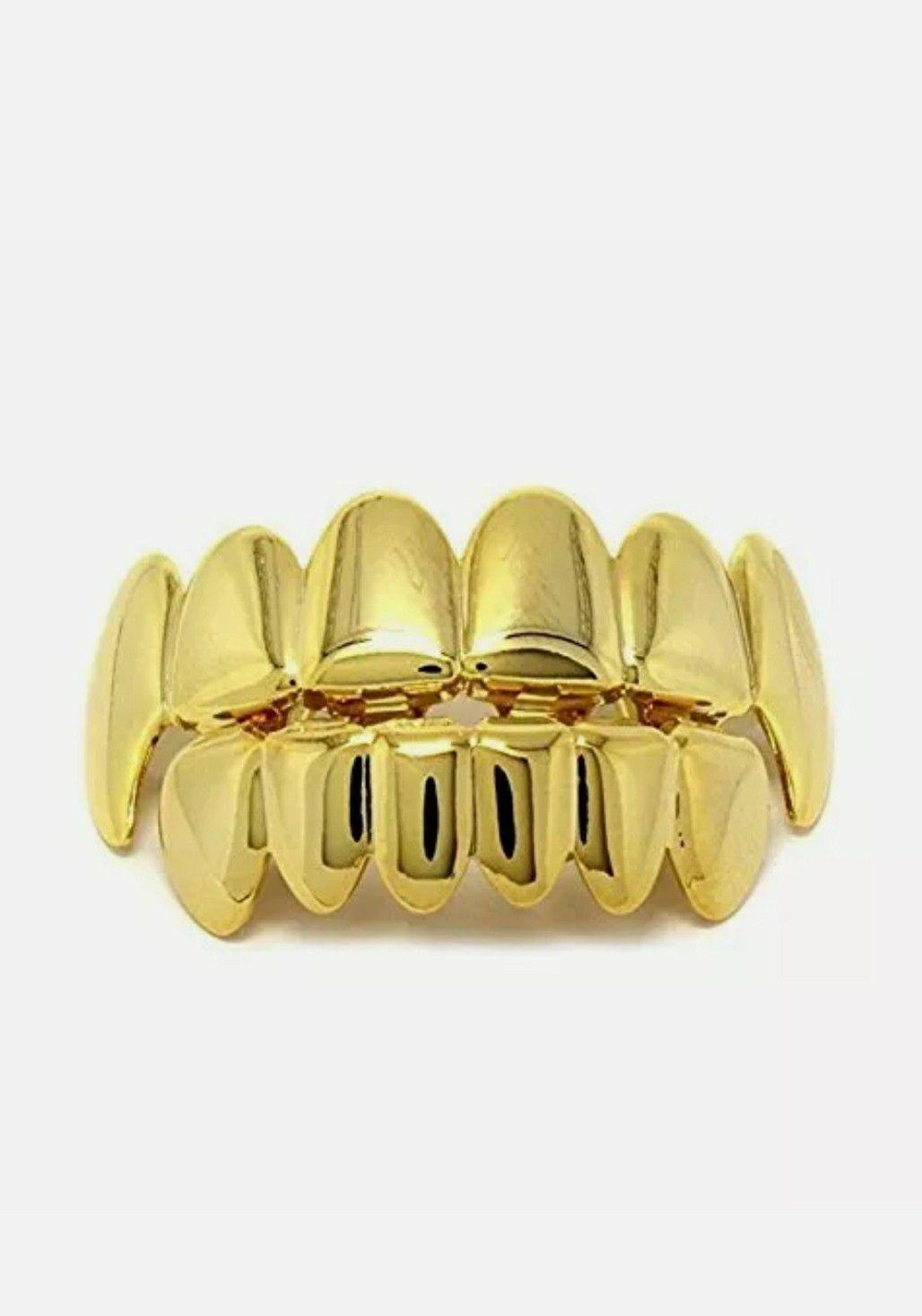 14k gold plated Hip Hop teeth Grillze caps top & bottom