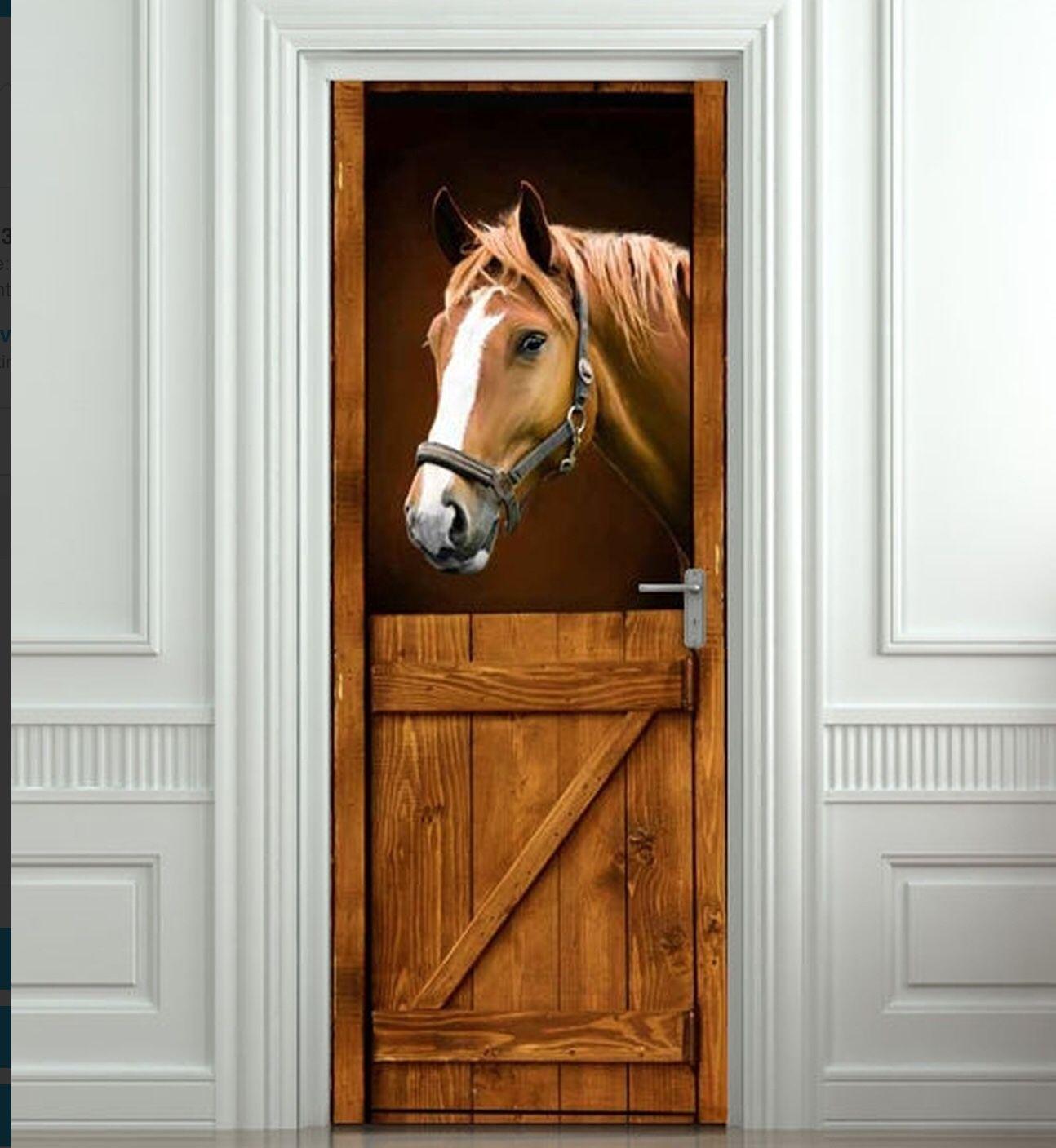 "3D Horse Barn Western Door Sticker .Self Adhesive Waterproof 30x79"""