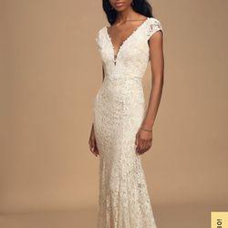 White Lace Short Sleeve Maxi Dress Thumbnail