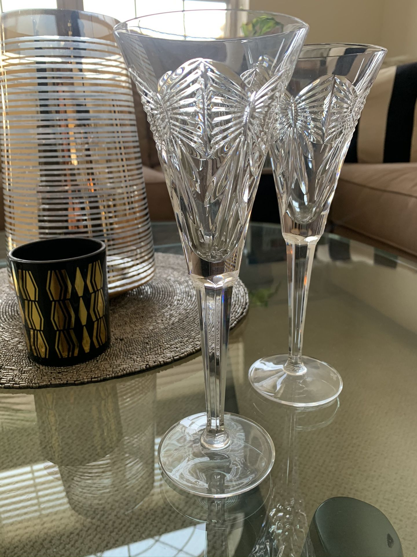 Retired Waterford Crystal Toasting Champagne Flutes