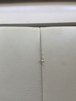 Off White Faux Leather Sectional /ottoman  Thumbnail