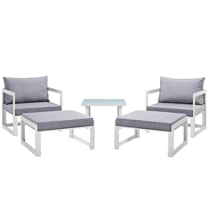 Fortuna 5 Piece Outdoor Patio Sectional Sofa Set , White Gray