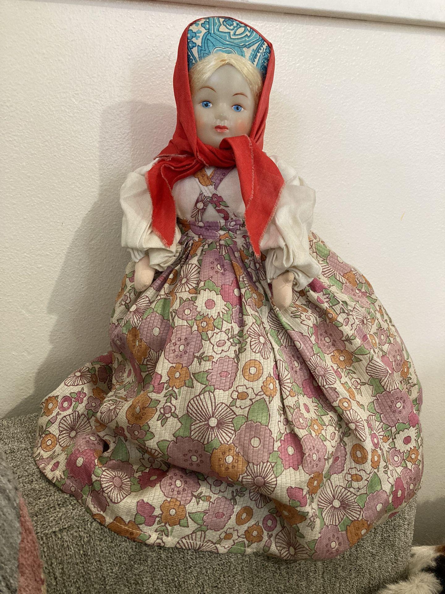 Vintage Russian Doll Tea Pot Cozy USSR