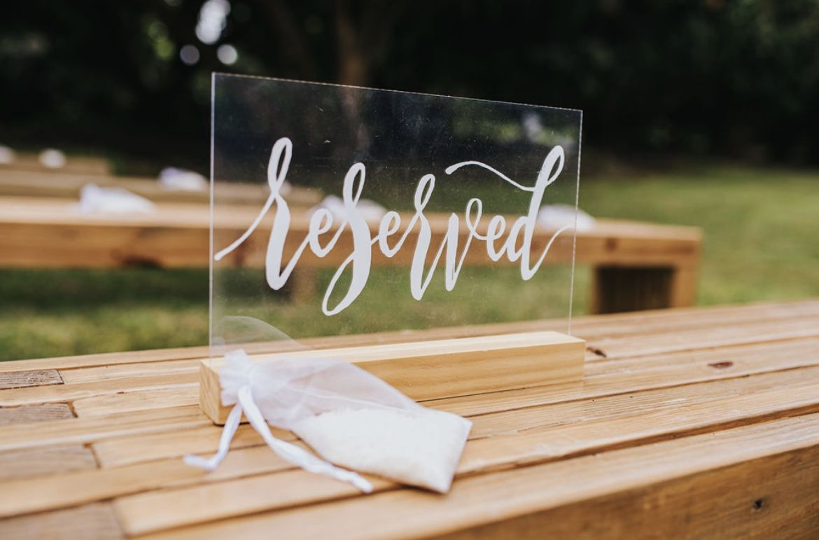 Reserved Sign For Weddings Events