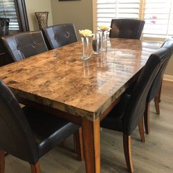 Granite Dining Room Table w/6 Chairs Thumbnail