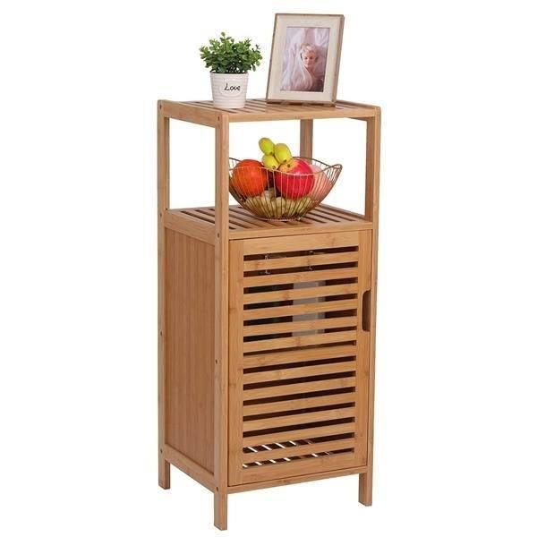 100% Bamboo Bathroom Floor Cabinet, Double Deck Shelf With Single Door And Cell For Stand-Alone Kitchen Cabinet, Living