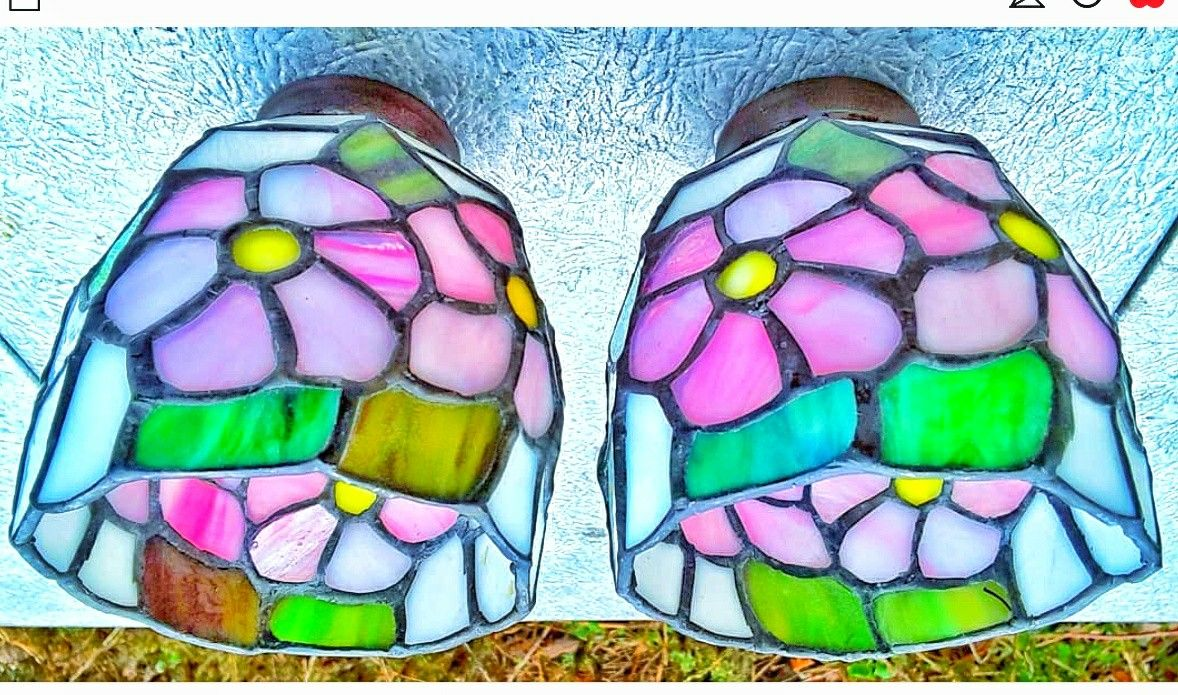 """Pink floral stained glass light lamp shades 2"""" D rim for desk lamp hanging shades or ceiling lamps"""