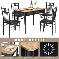 Costway 5PCS Dining Set Metal Table & 4 Chairs Kitchen Breakfast Furniture Black Thumbnail