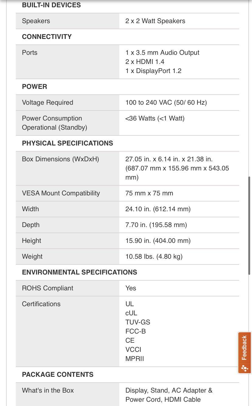 "Acer 27"" 240hz 1ms Response Time Gaming Monitor"