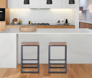 "Zenvida 24"" Counter Height Bar Stools Set of 2 Backless Industrial Modern Kitchen Island Chairs Thumbnail"