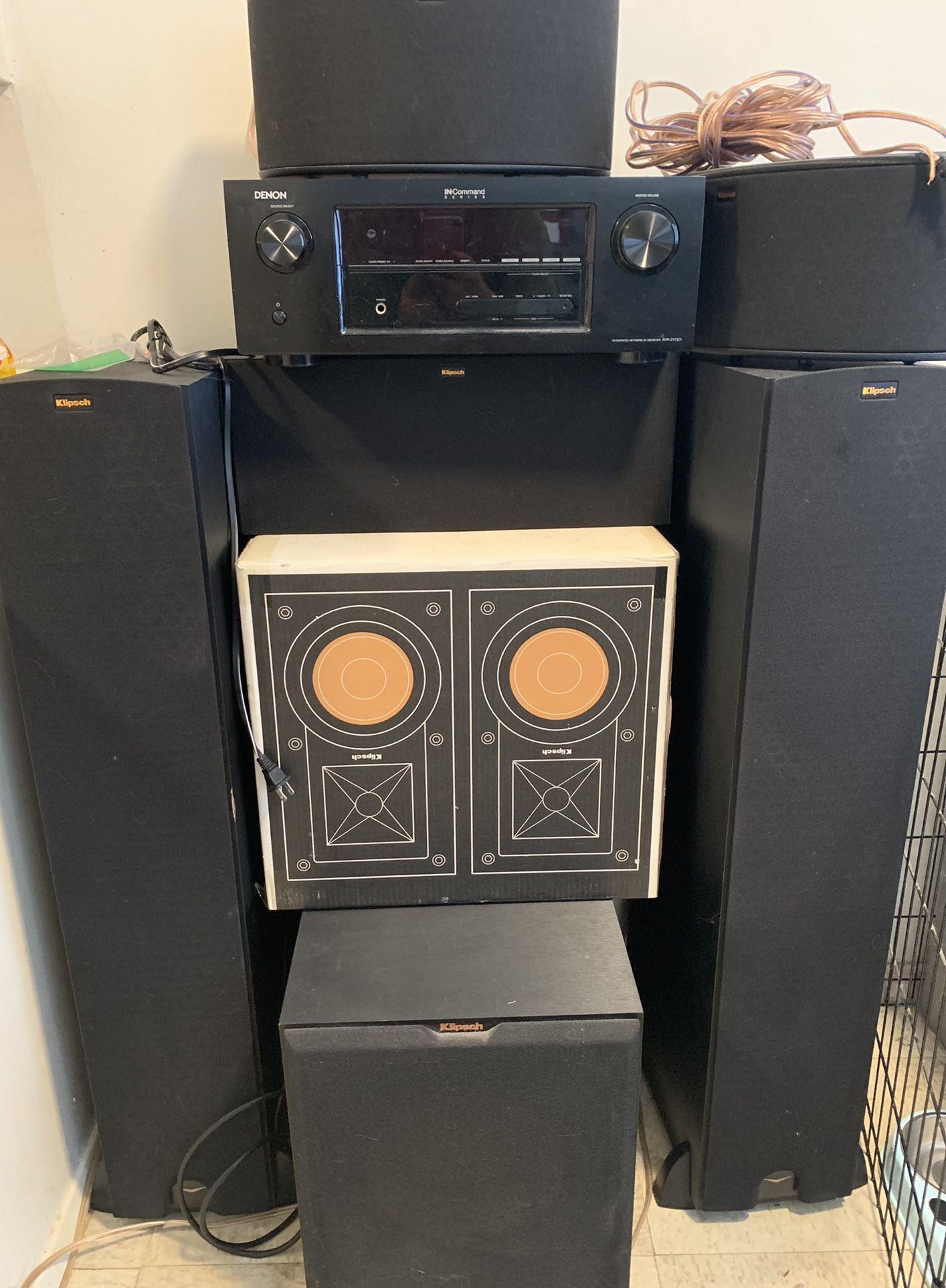 Klipsch Speaker System With Denon AV receiver