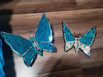 New Turquise Fancy Gypsum Butterflies Wall Decor Hand Crafted 8 inches and 10 inches Thumbnail