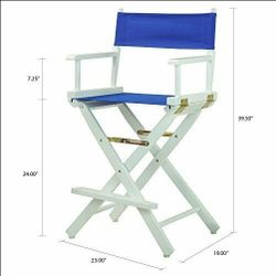 """B2-178 Casual Home 24"""" Director's Chair White Frame with Royal Blue. New. Thumbnail"""