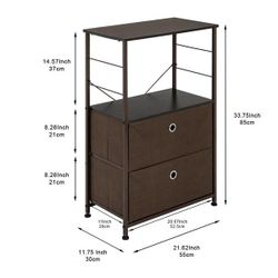 Nightstand 2-Drawer Shelf Storage - Bedside Furniture & Accent End Table Chest For Home, Bedroom, Office, College Dorm, Thumbnail