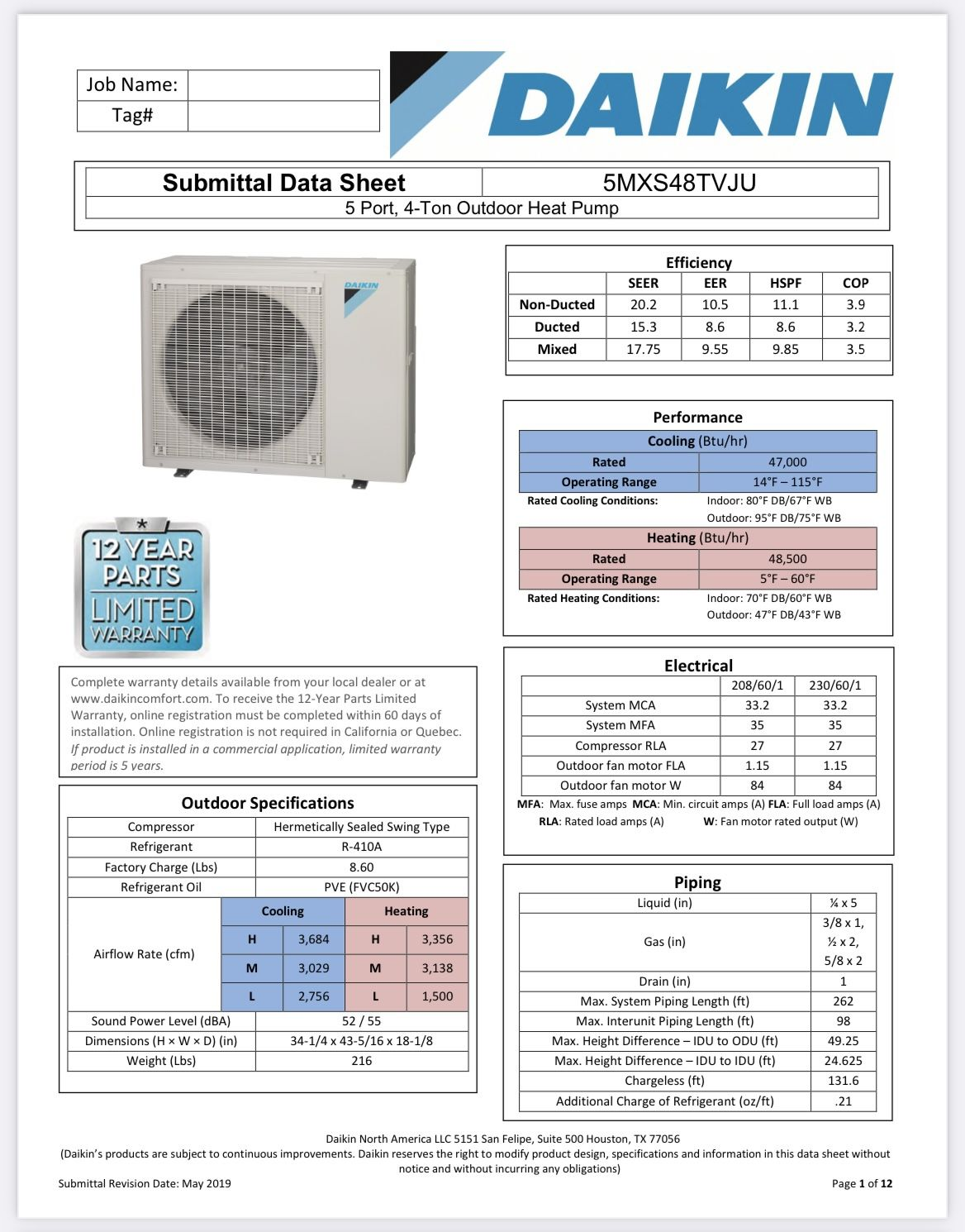Daikin 48000BTU 4 Ton Multi Zone Mini Split AC With 12K Air Handlers