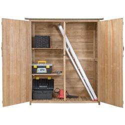 Gymax Garden Outdoor Wooden Storage Shed Cabinet Double Doors Fir Wood Lockers Thumbnail