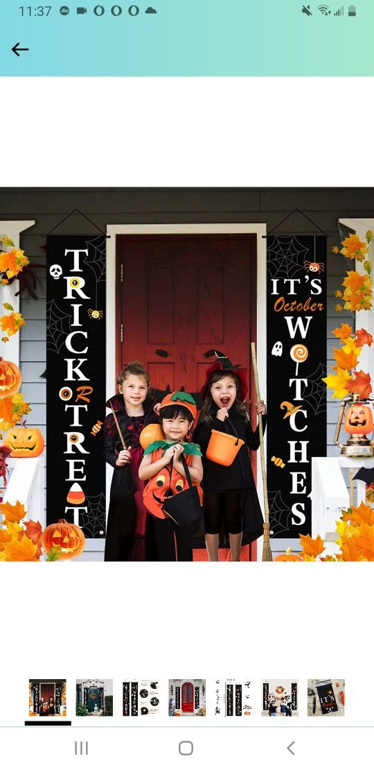 Halloween Decorations Outdoor Indoor,Halloween Decor Porch Signs,Halloween Banners for Front Door or Indoor Home Decor,Halloween Welcome Signs,Trick o