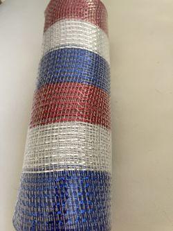"Patriotic 10"" Wide Poly Deco Mesh: Metallic Red, White & Blue Stripes Thumbnail"
