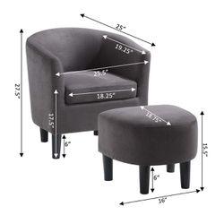 Take a Seat Churchill Accent Chair with Ottoman, Dark Gray Thumbnail