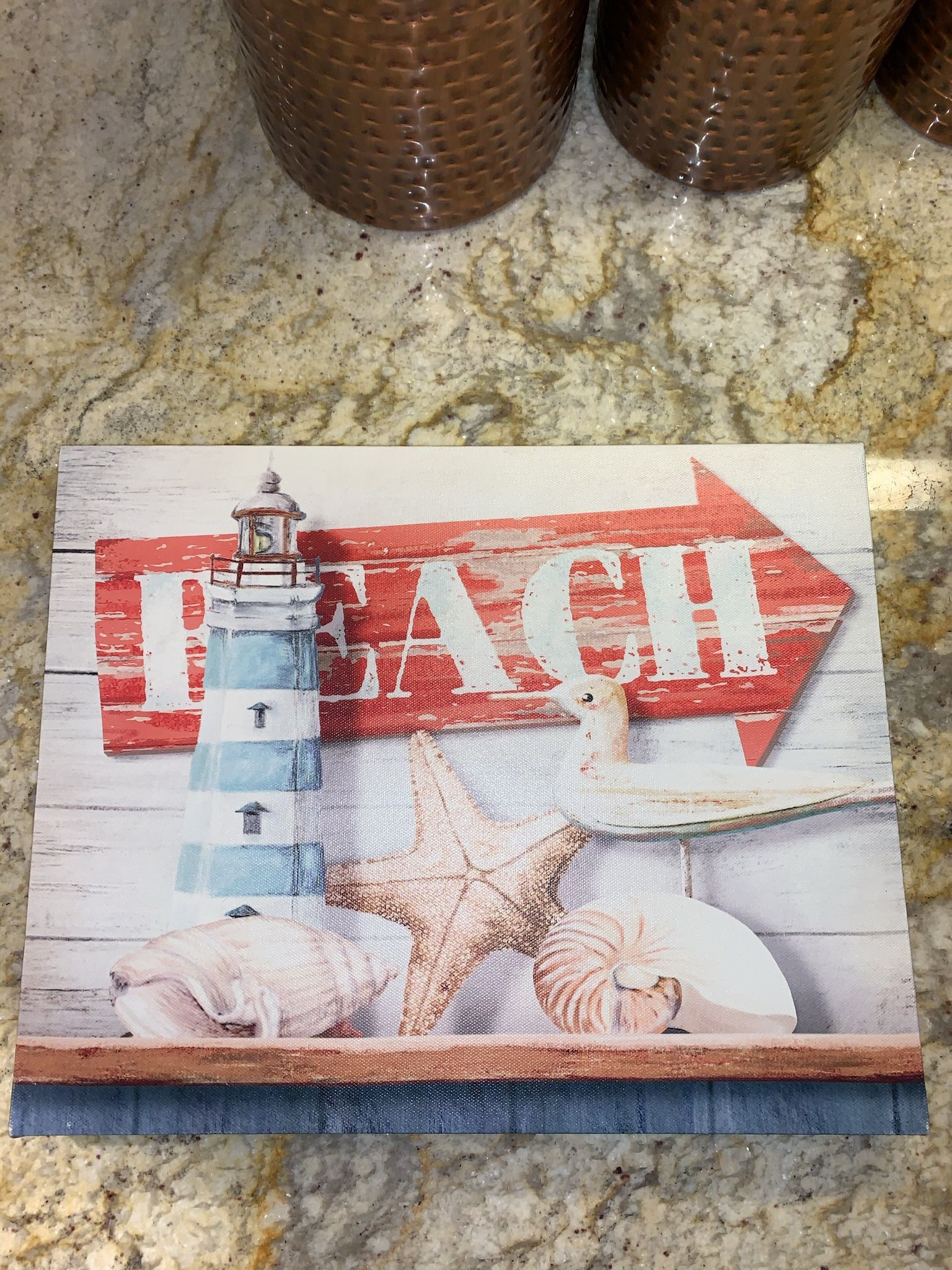 """BEACH (14"""" W / 11"""" H / 1"""" thick) canvas painting with shells, bird and lighthouse (home decor)"""