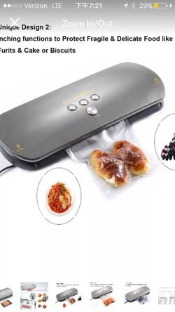 Vacuum Sealer, Automatic Vacuum Sealing System for Dry & Moist Foods Preservation - Latest Model with Starter Vacuum Bags (Silver) Thumbnail