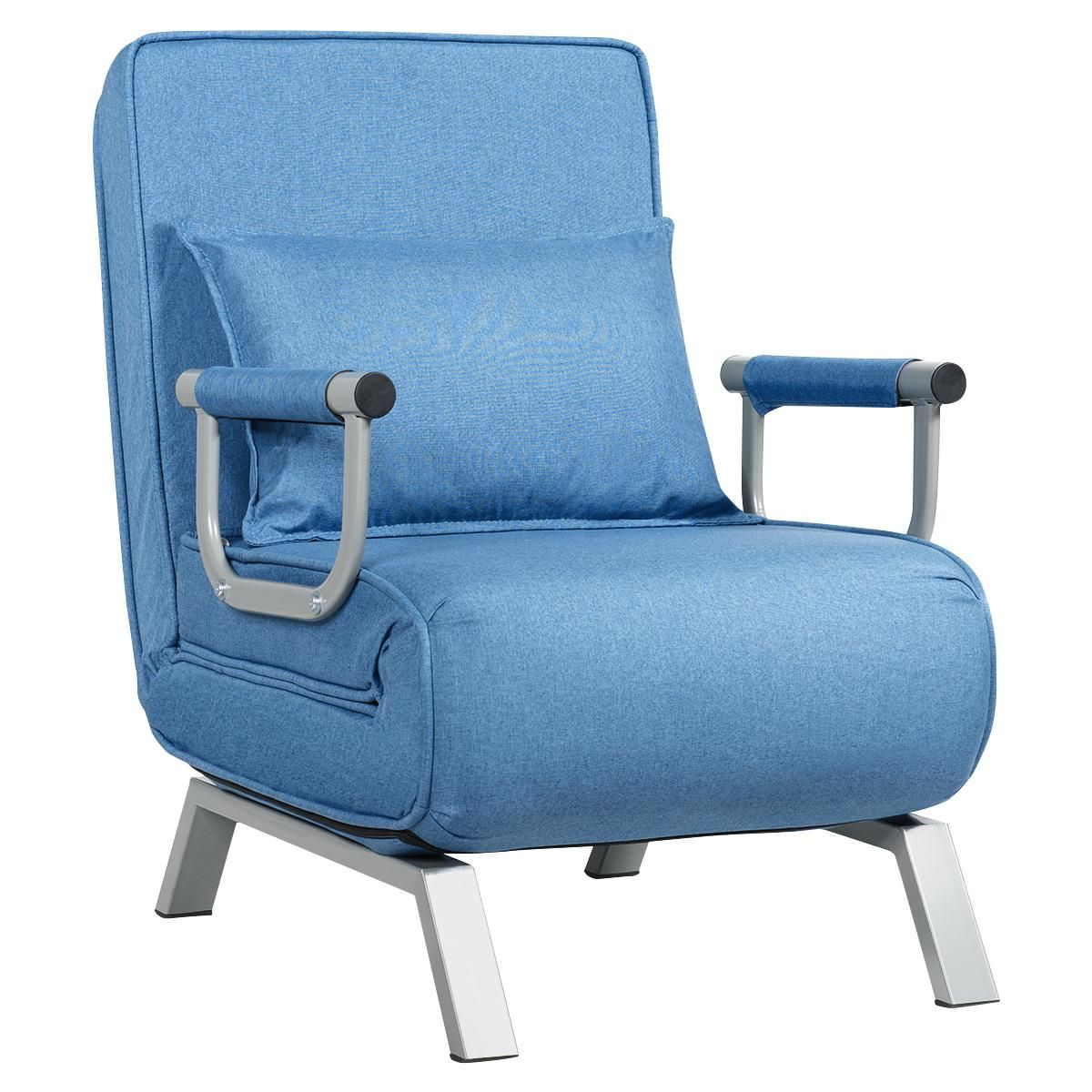 Gymax 5 Position Convertible Sofa Chair Folding Sleeper Bed w/ Pillow Blue/Gray