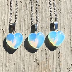 Sea Opal Heart Necklace with Sterling Silver Chain // Opal Opalite Moonstone Jewelry Thumbnail