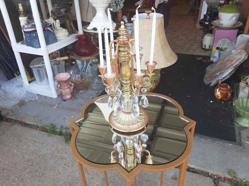 Gorgeous Looking  6 SMALL  CANDLE THIS IS A  BRASS  AND CRYSTAL GLASS  CANDLE HOLDER  15INCHES TALL