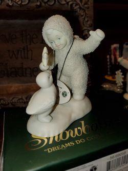 Figura de porcelana antigua de snowbabies nueva Thumbnail