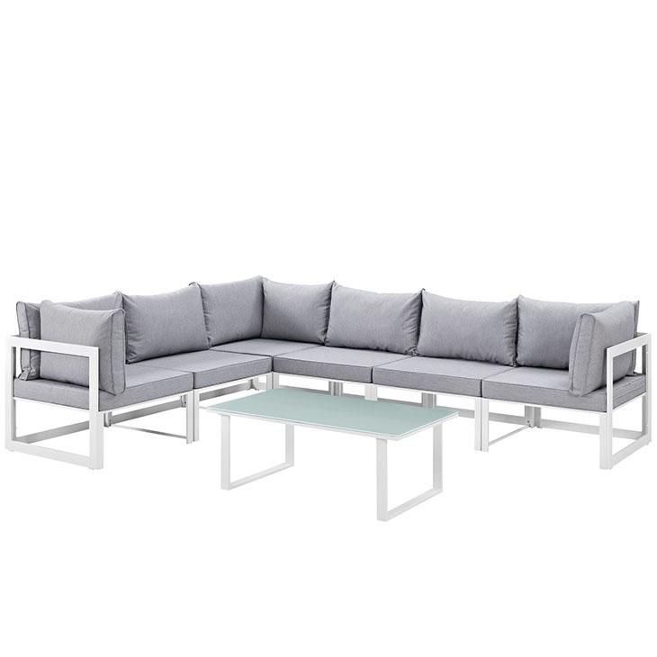 Fortuna 7 Piece Outdoor Patio Sectional Sofa Set, White Gray