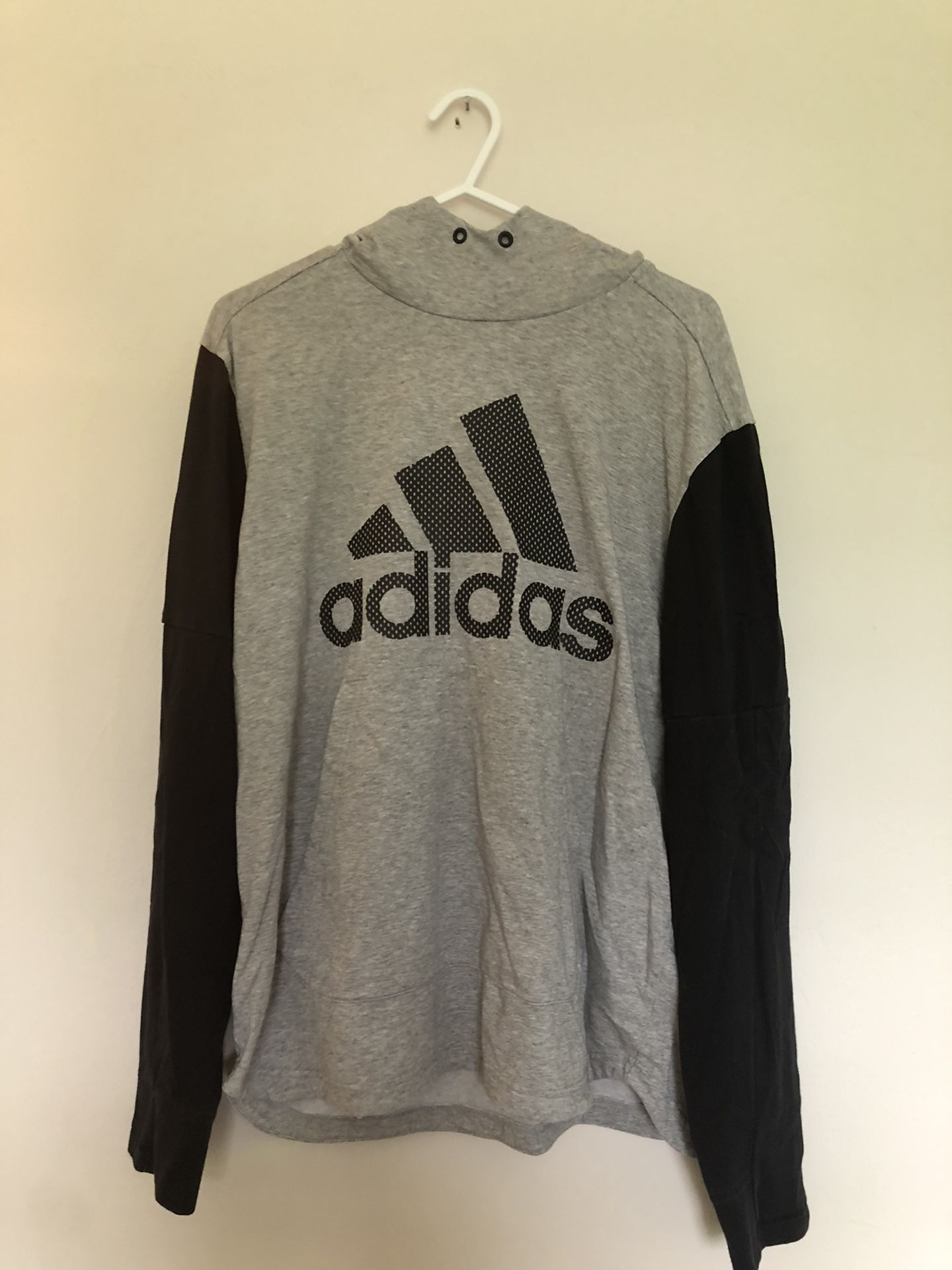 Adidas hooded sweatshirt black and gray size Medium