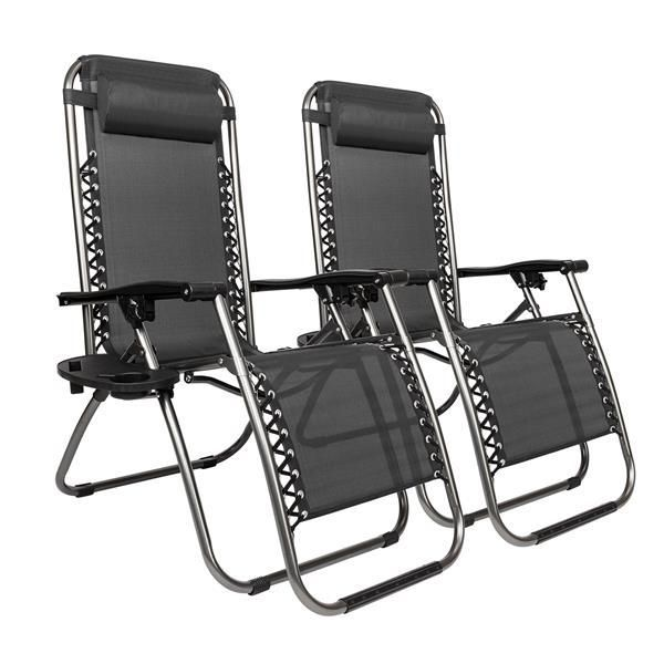 2pcs Plum Blossom Lock Portable Folding Chairs with Saucer Black