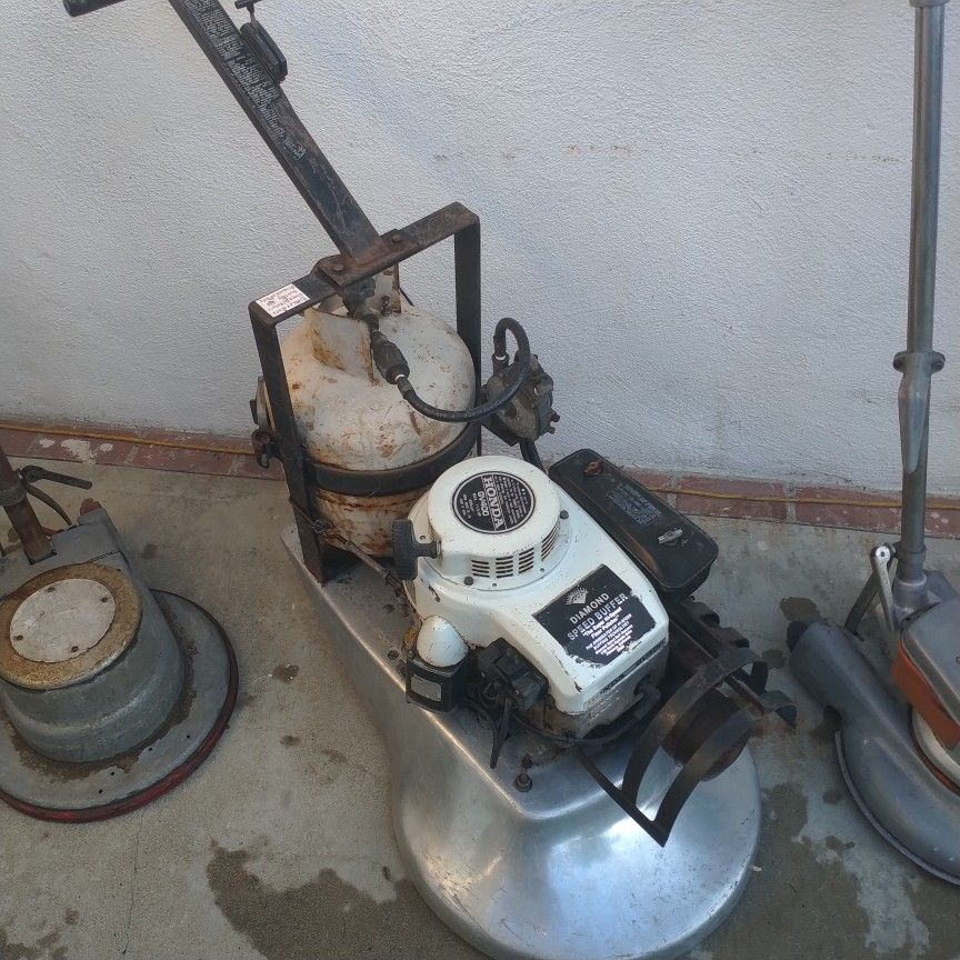 Diamond Propane Speed Buffer And Two Floor Scrubbers For Commercial Floor Waxing