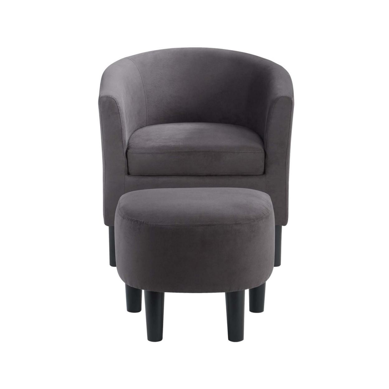 Take a Seat Churchill Accent Chair with Ottoman, Dark Gray