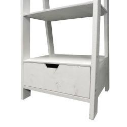 4 Shelf Wooden Ladder Bookcase with Bottom Drawer, Distressed white , Saltoro Sherpi Thumbnail