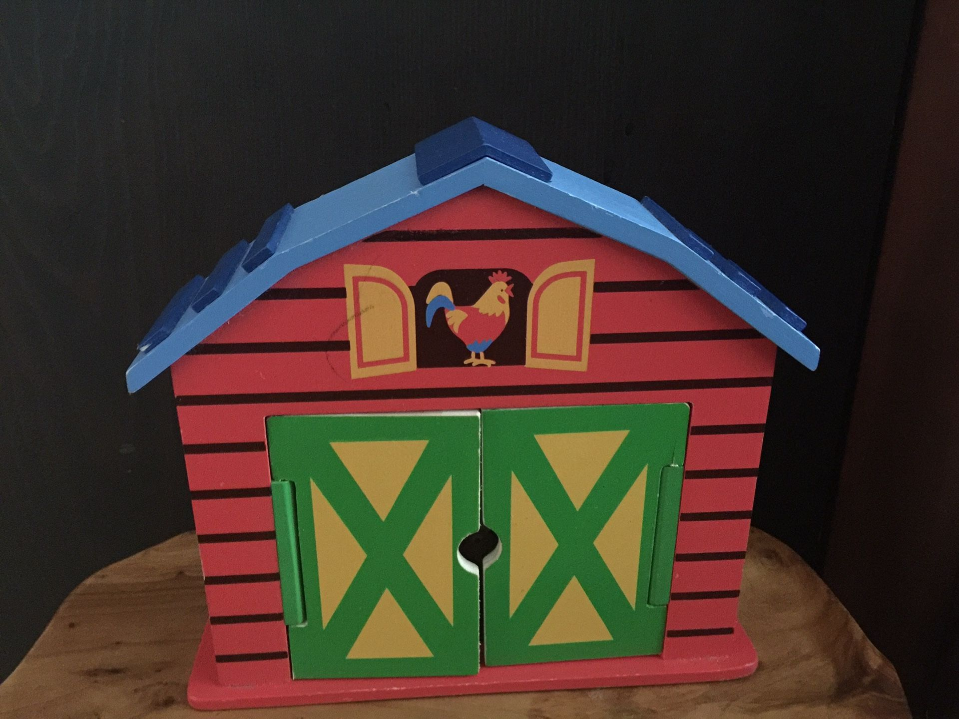 Wood Mini Barn with Animals & Farmer