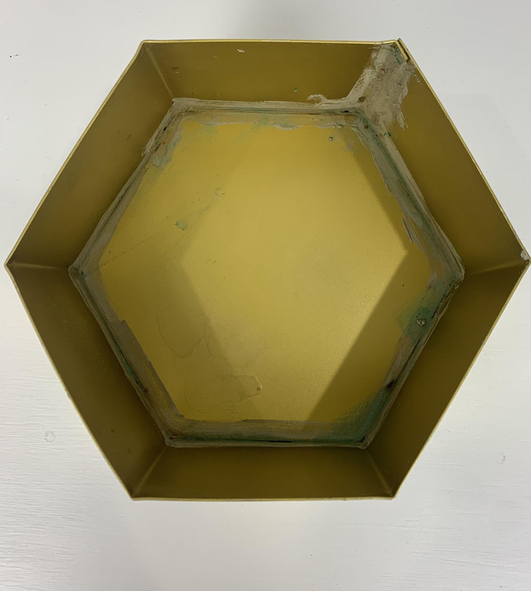 7 Gold Metal Hexagon Flower Pots