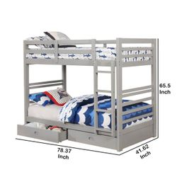 Saltoro Sherpi Transitional Twin Over Twin Bed with Attached Ladder and Drawers, Gray Thumbnail