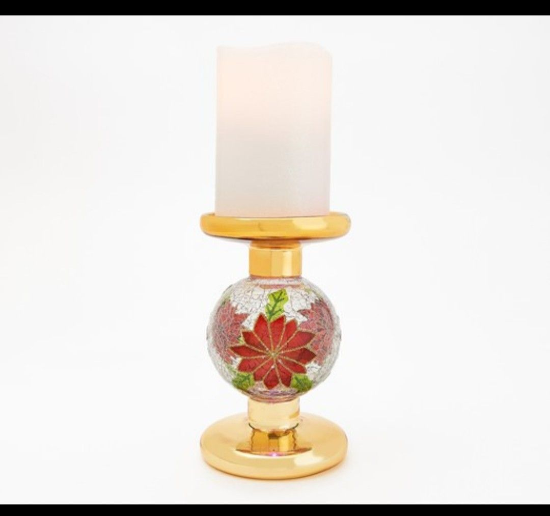 Lightscapes Flameless Candle with Crackle Sphere Candle Holder