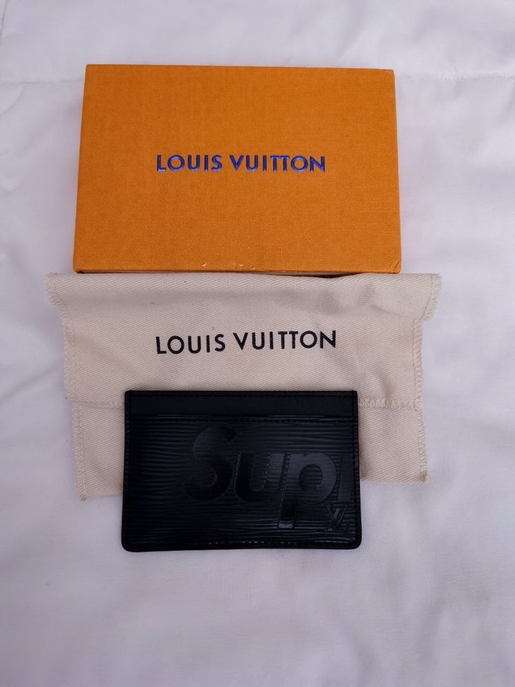 LV Louis Vuitton x Supreme Porte Carte Simple Epi Black Card Wallet