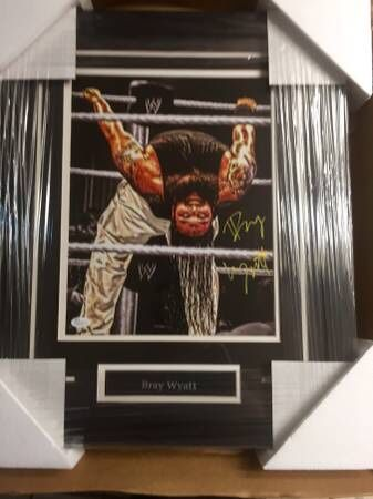 Bray Wyatt signed autographed framed 11x14 photo WWE champion Wyatt Family The Fiend JSA coa