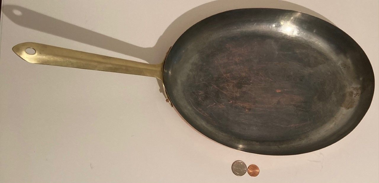 """Vintage Copper and Brass Fish Frying Pan, Sauce Pan, 21"""" Long and 13"""" x 9 1/2"""" Pan Size, Quality, a Few Dings, Summer Design, Fish Pan, Cooking Pan"""