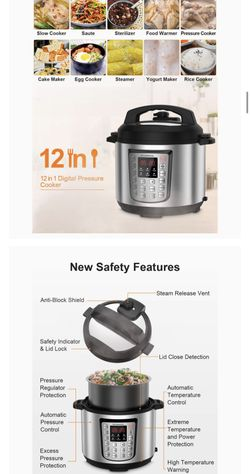 12-in-1 Electric Pressure Cooker Instant Stainless Steel Pot, Slow Cooker, Steamer, Saute, Yogurt Maker, Egg Cook, Sterilizer, Warmer, Rice Cooker wi Thumbnail