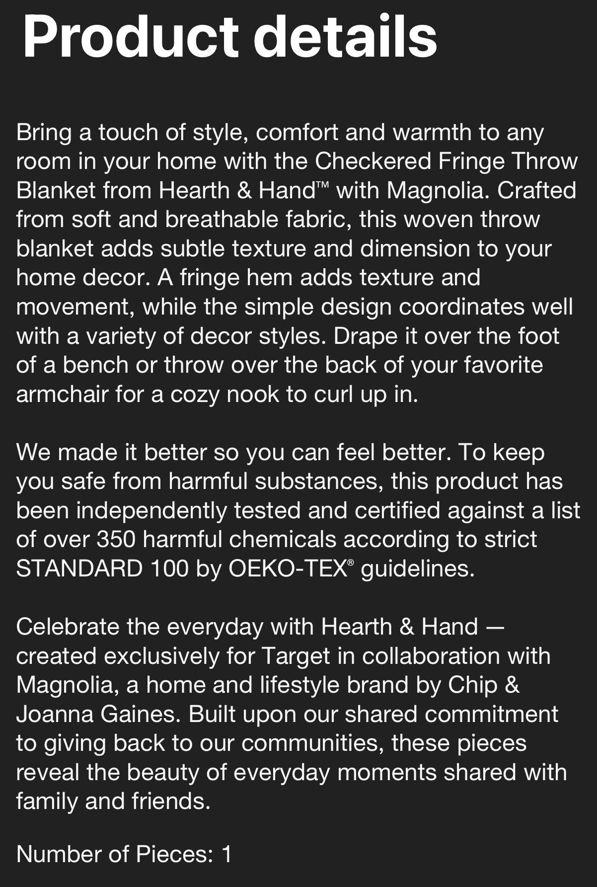 Checkered Fringe Throw Blanket Gray/Sour Cream -Hearth &  Hand  With Magnolia