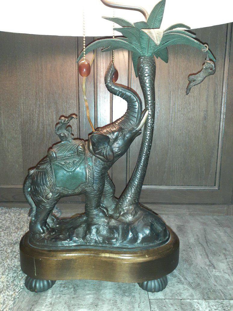 Frederick Cooper Safari Collection Bronze Elephant & Monkey Table Lamp