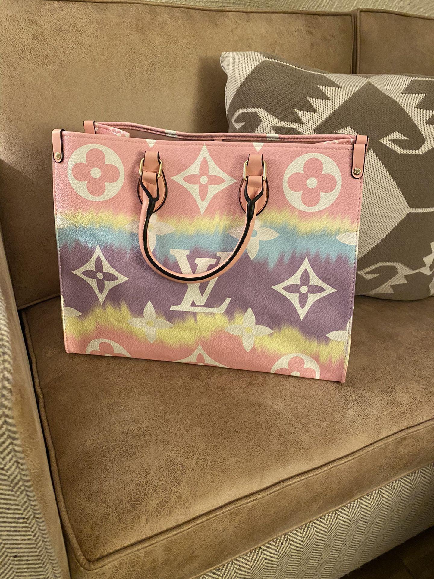 Pastel leather monogram bag tote