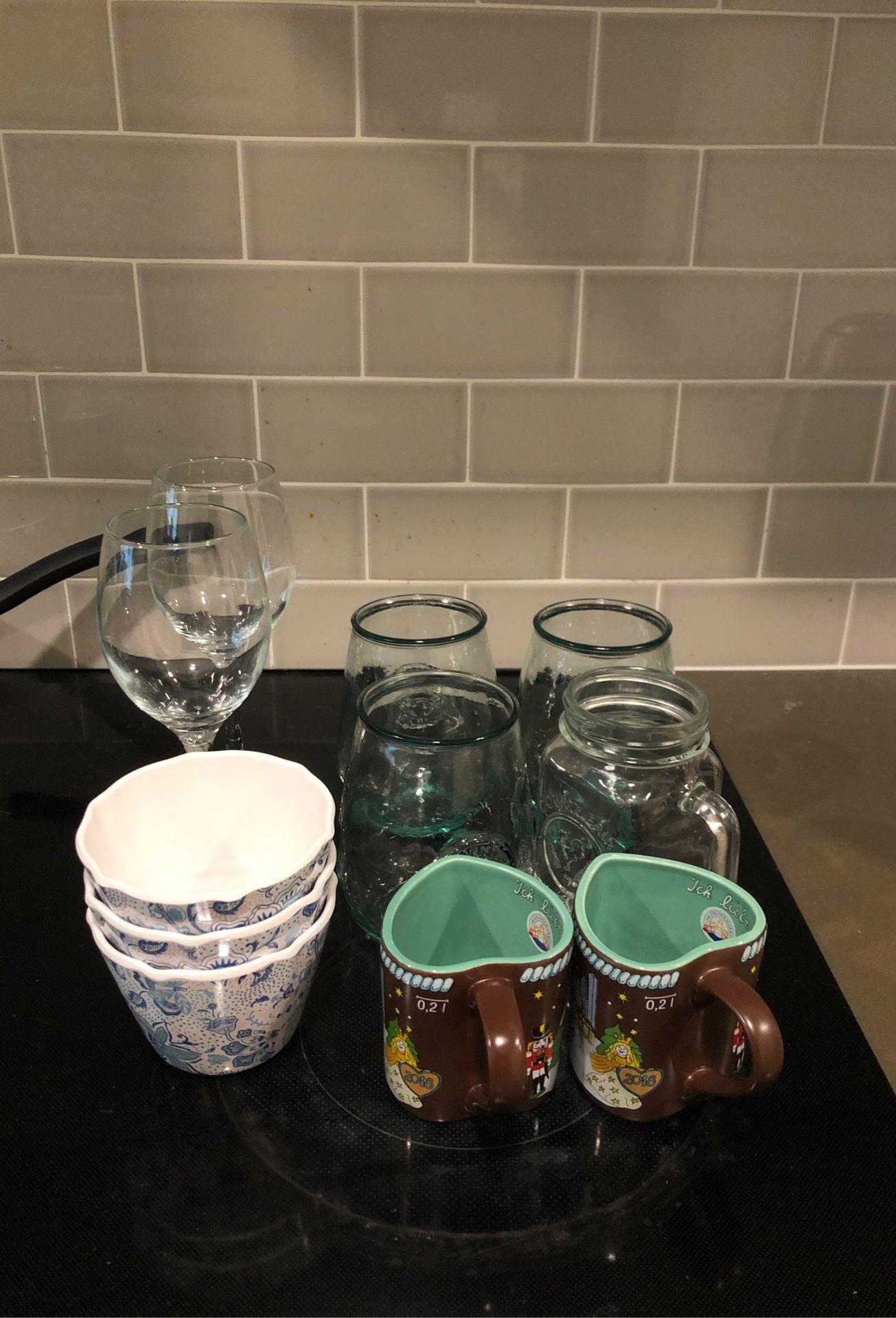 Wine glasses, cups, mugs